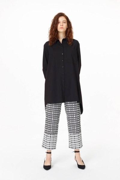 Garni Detailed Tunic Shirt (Black) - Thumbnail