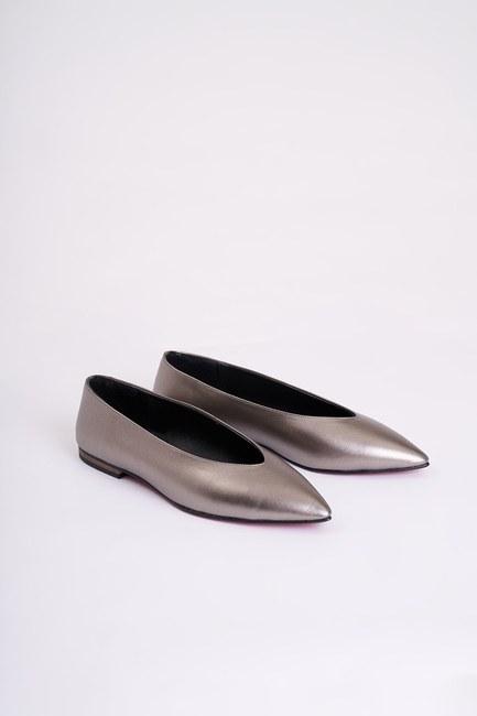 MIZALLE - Sivri Burun Ayakkabı (Gri) (1)