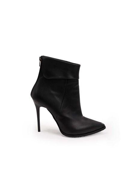 MIZALLE - أشار اصبع القدم أحذية (أسود) (1)