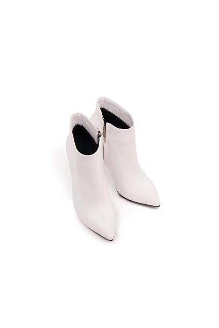 Sivri Topuk Klasik Yarım Bot (Beyaz) - Thumbnail
