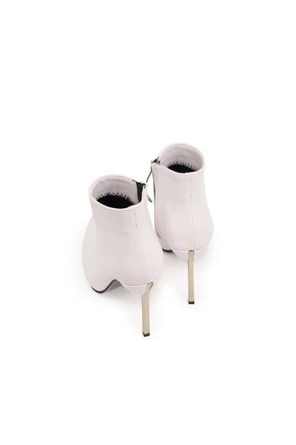 حذاء بكعب مدبب (أبيض) - Thumbnail