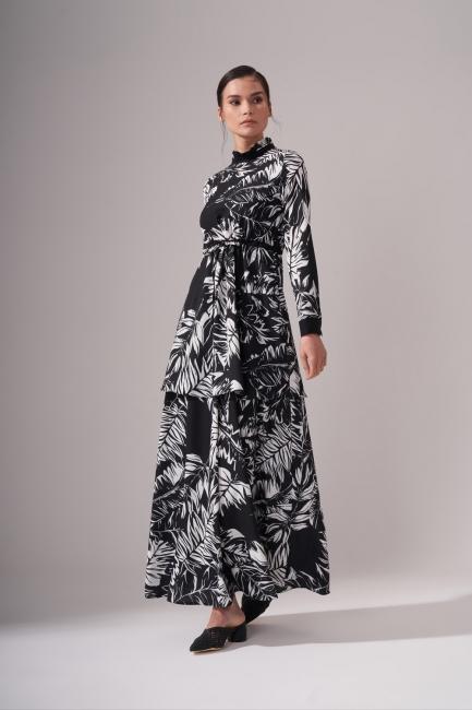 Mizalle - Siyah Beyaz Desenli Elbise (Desenli)