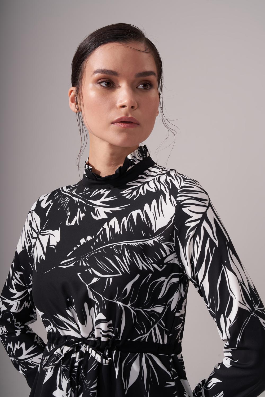 Siyah Beyaz Desenli Elbise (Desenli)