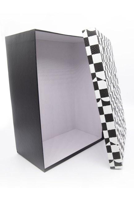 MIZALLE HOME - Siyah Beyaz Kare Kutu (18X26) (1)