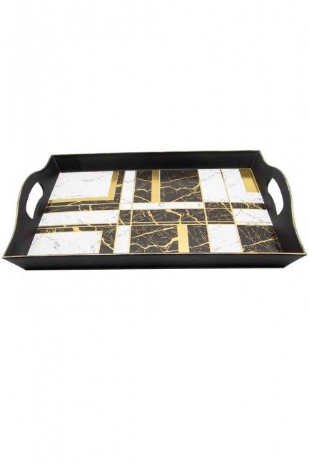 MIZALLE HOME - Siyah Dekoratif Tepsi (Kare) (1)