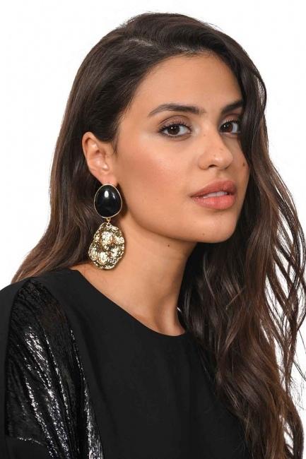 Black Dangling Earrings (St) - Thumbnail