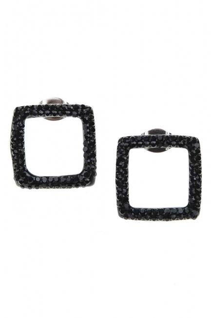 Siyah Taşlı Kare Çelik Küpe (St) - Thumbnail