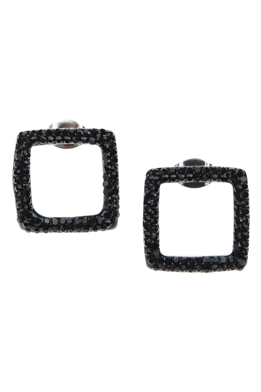MIZALLE حلق فولاذي مربّع مع زيركون الأسود (1)