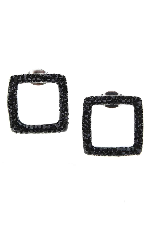 MIZALLE Siyah Taşlı Kare Çelik Küpe (St) (1)