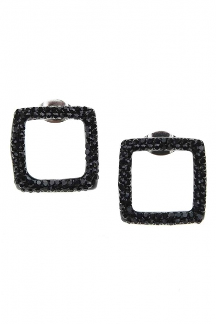 MIZALLE - Siyah Taşlı Kare Çelik Küpe (St) (1)