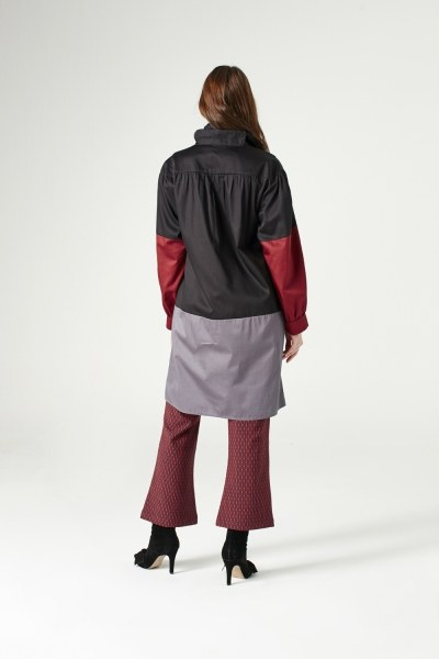 Collar Lacing Tunic With Pockets (Black) - Thumbnail