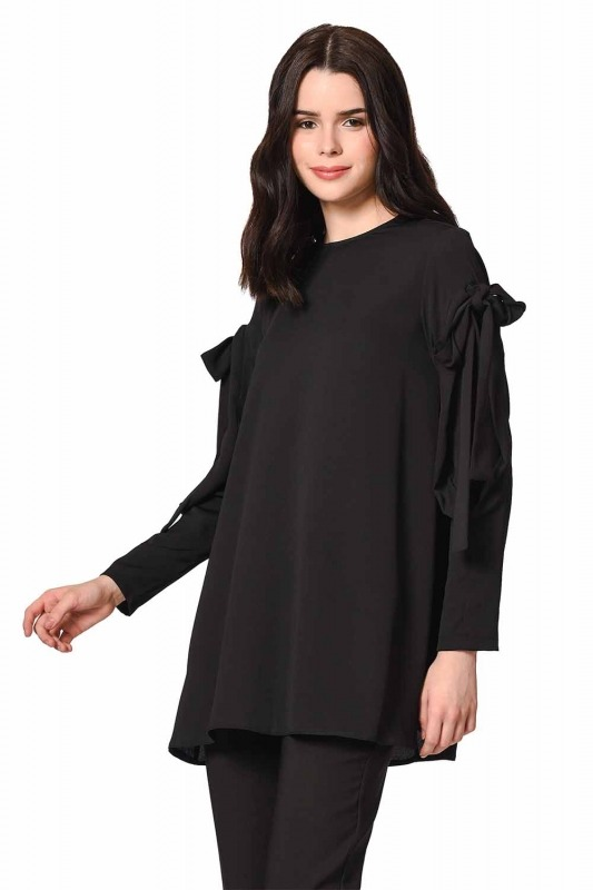 Sleeve Binding Detail Tunic (Black)