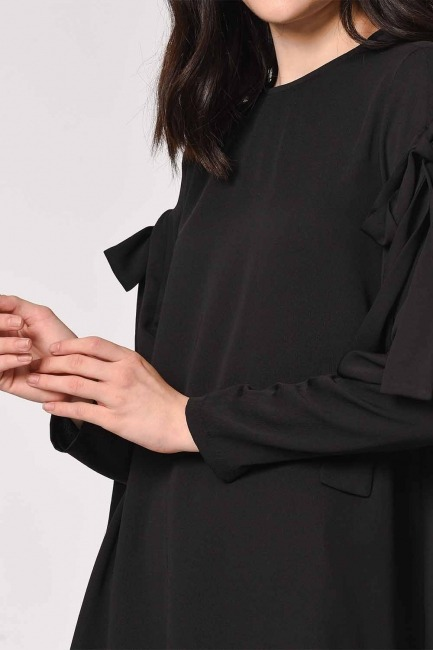 Sleeve Binding Detail Tunic (Black) - Thumbnail