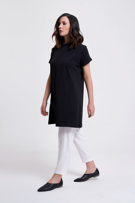 MIZALLE - Sleeve Fold Tunic T-Shirt (Black) (1)