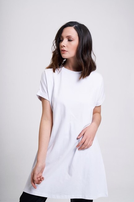 MIZALLE - Sleeve Fold Tunic T-Shirt (White) (1)