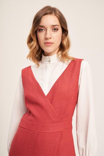 MIZALLE - Sleeveless Textured Jumpsuit (Brick Red) (1)