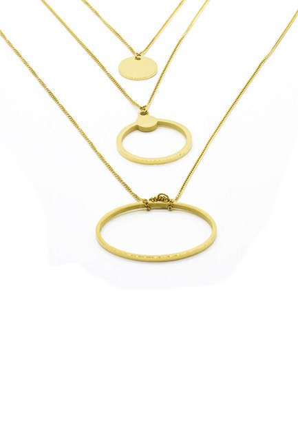 MIZALLE - Small Chain Steel Necklace (Yellow) (1)