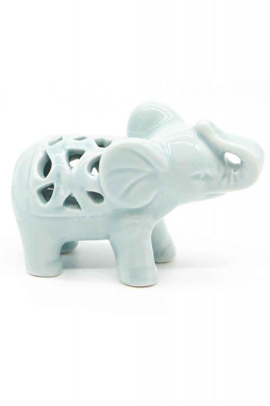 Small Size Porcelain Elephant Trinket (Green)