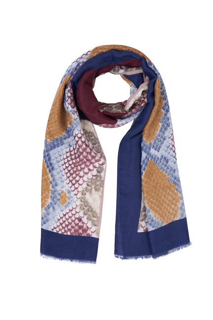 Mizalle - Snake Pattern Tassel Shawl (Blue) (1)