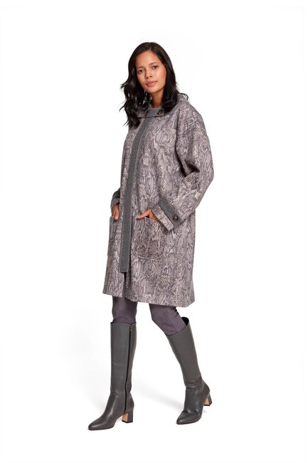 Mizalle - Snake Patterned Coat (Grey) (1)