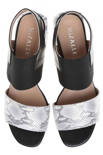 Snake Patterned Leather Shoes (Grey) - Thumbnail