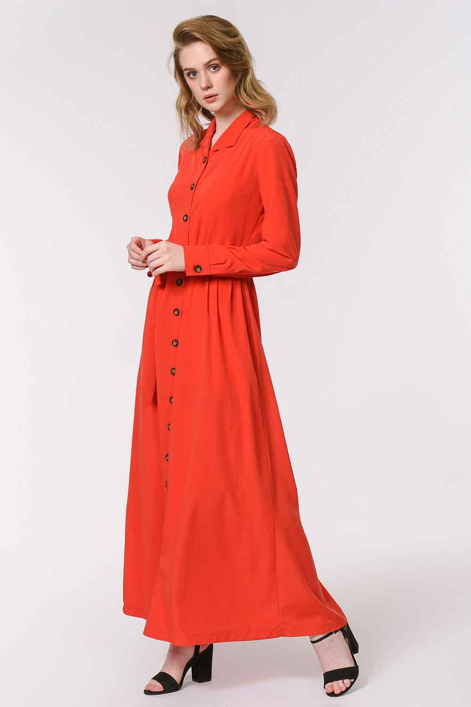 MIZALLE فستان ناعم مع تصميم مطبوع (أحمر) (1)