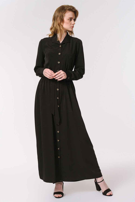 MIZALLE فستان ناعم مع تصميم مطبوع (أسود) (1)