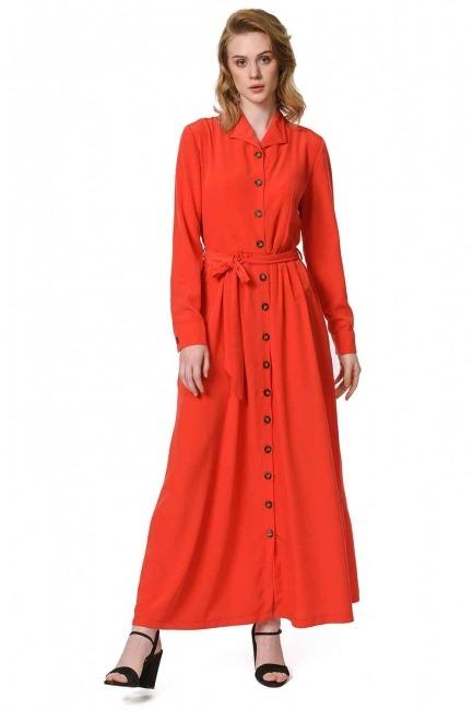 فستان ناعم مع تصميم مطبوع (أحمر) - Thumbnail