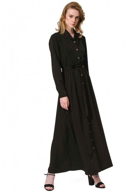 فستان ناعم مع تصميم مطبوع (أسود) - Thumbnail