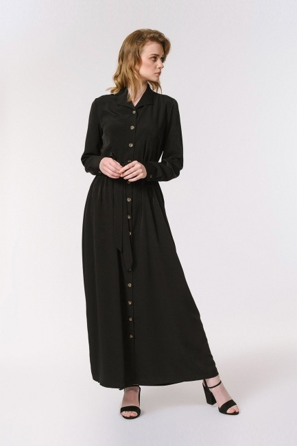 Soft Clean Patlı Elbise (Siyah) - Thumbnail