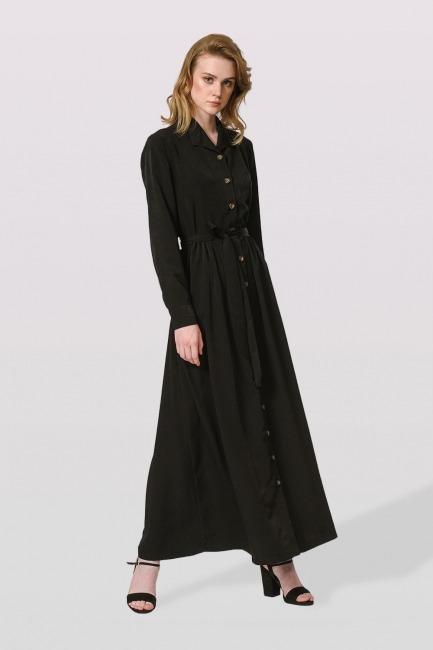 Mizalle - Soft Clean Patlı Elbise (Siyah)