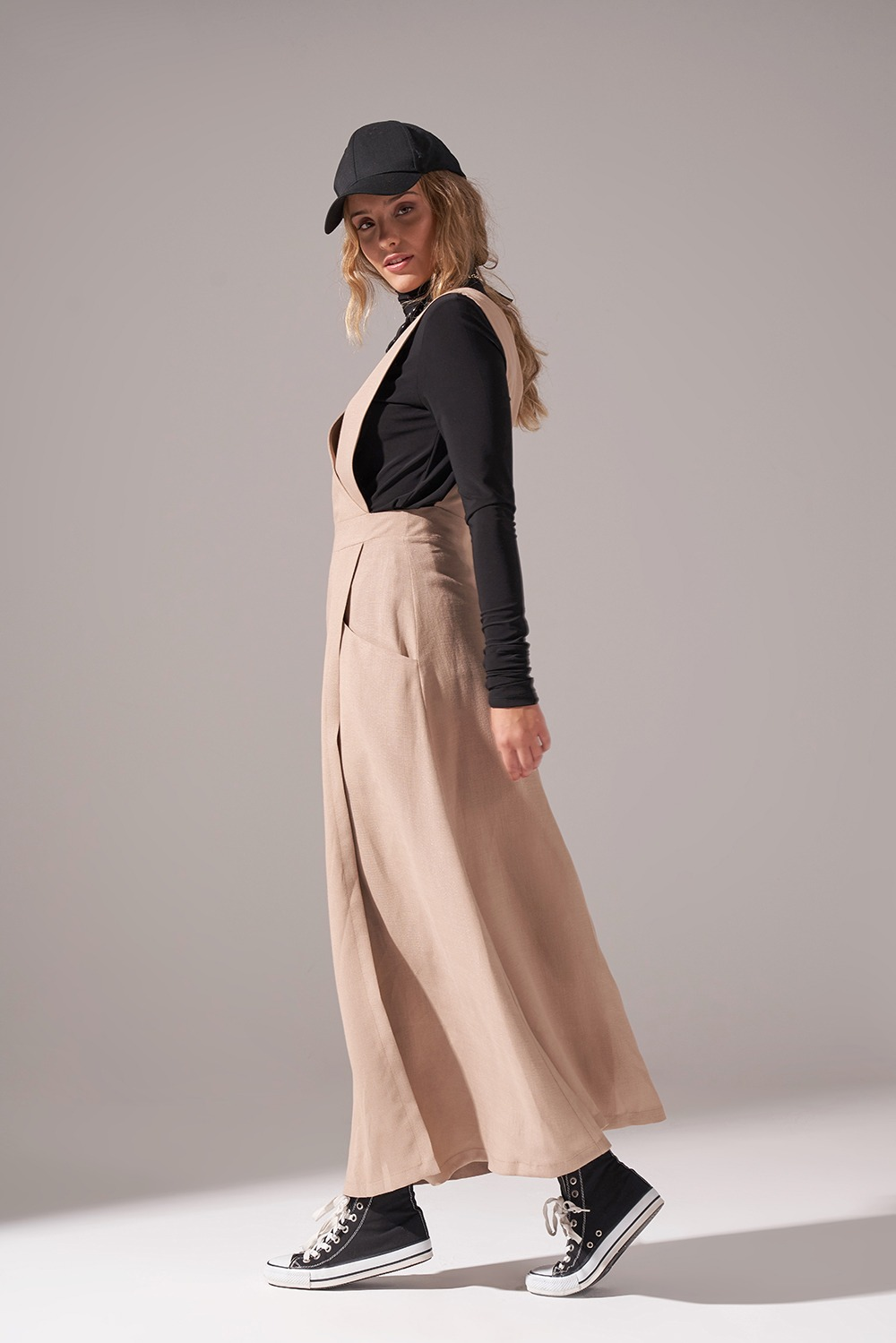 Soft Dokulu Jile Elbise (Bej)