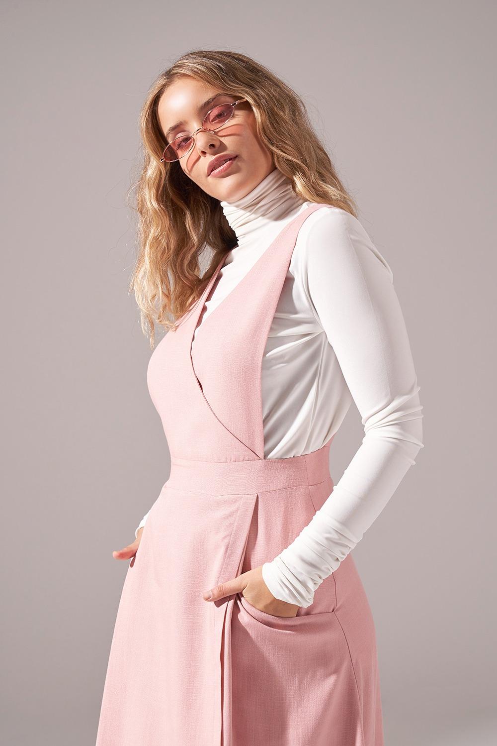 Soft Dokulu Jile Elbise (Pembe)