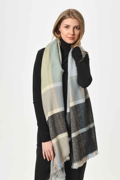 MIZALLE - Soft Plaid Shawl (Blue) (1)