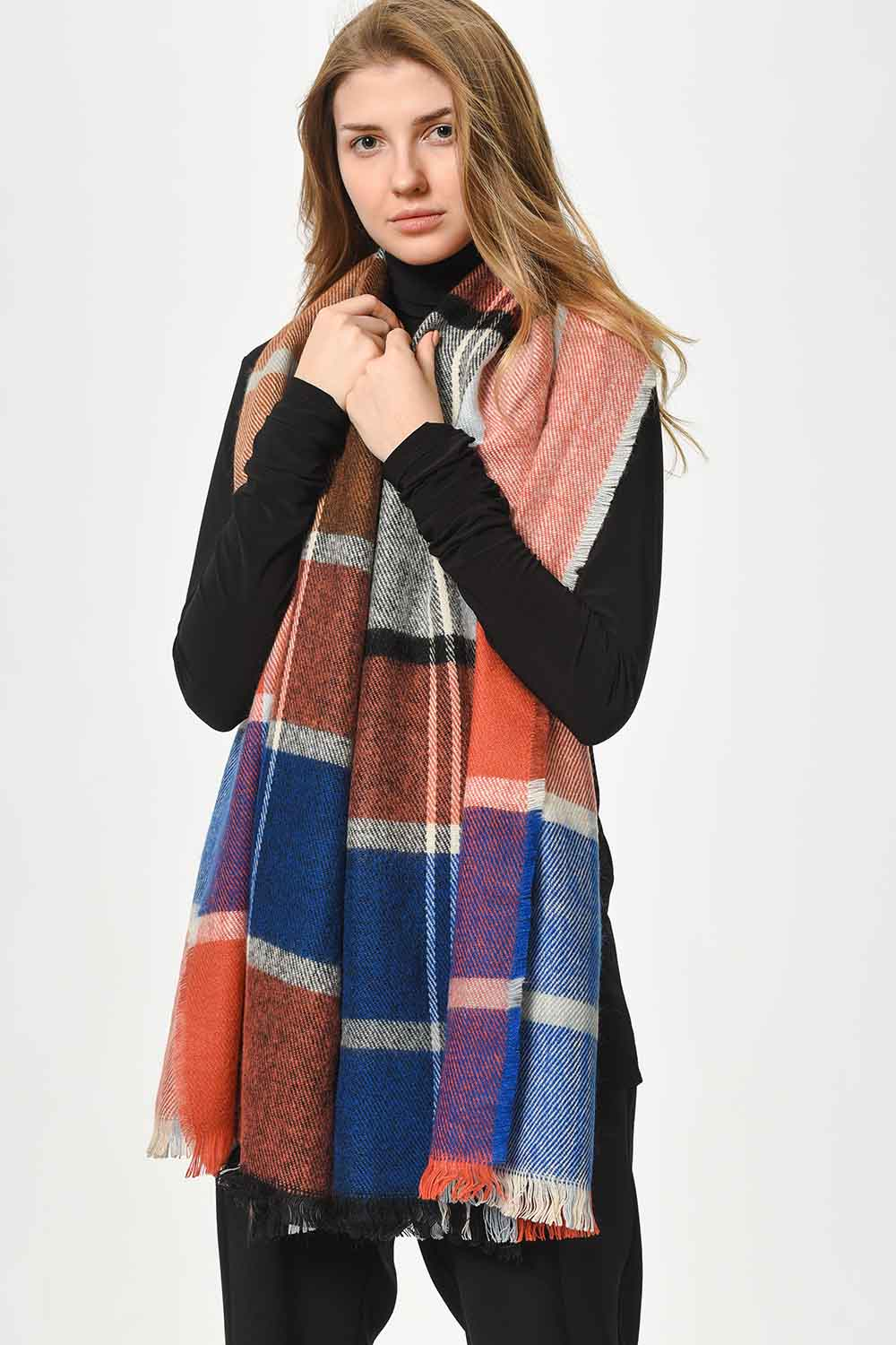 MIZALLE Soft Plaid Shawl (Powder) (1)
