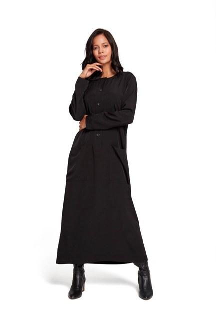 فستان بأزرار أمامية (أسود) - Thumbnail
