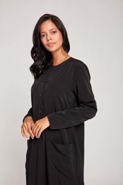MIZALLE - فستان بأزرار أمامية (أسود) (1)