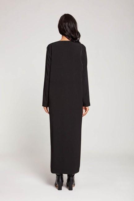 Soft Önden Düğmeli Elbise (Siyah) - Thumbnail