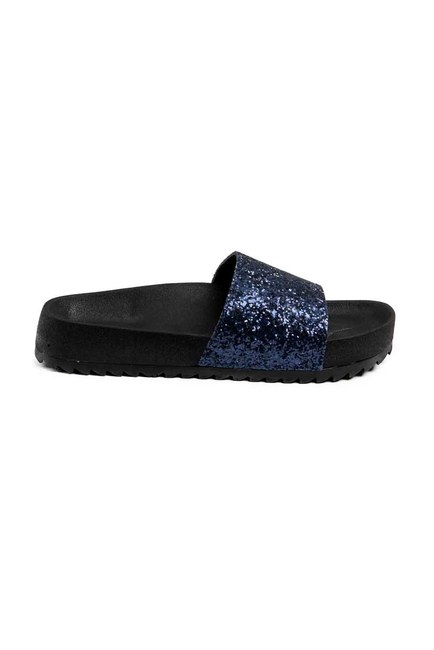 MIZALLE - Soft Sole Slippers (Navy Blue Sequins) (1)
