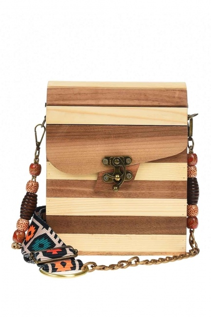 MIZALLE - حقيبة كتف مربعة خشبية (بيج) (1)