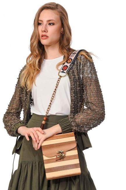 Square Form Wooden Arm Bag (Beige) - Thumbnail