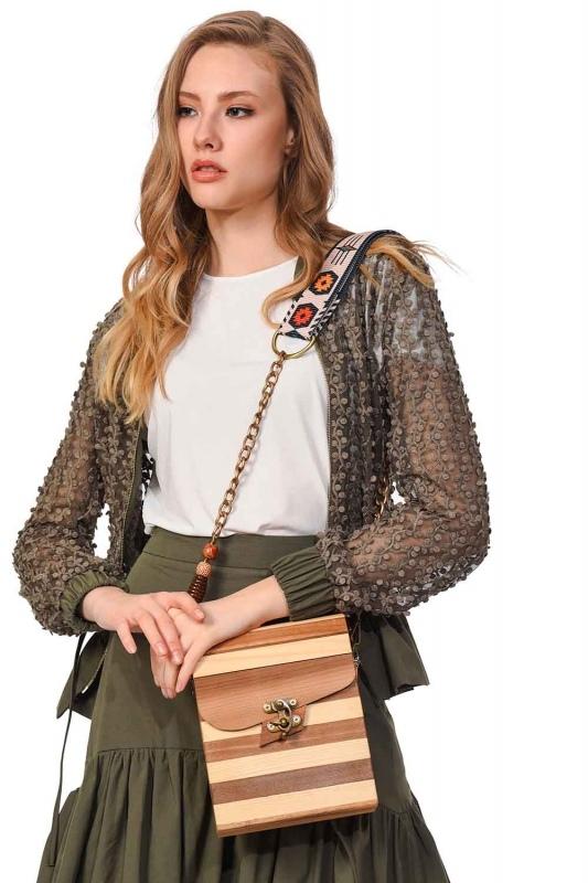 Square Form Wooden Arm Bag (Beige)