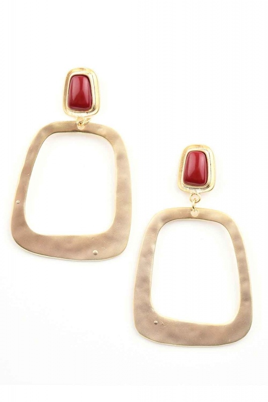 Square Shape Dangling Earrings (St)