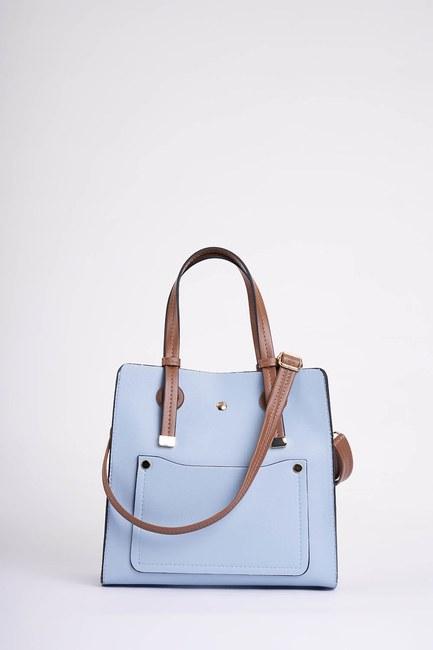 MIZALLE - Square Shape Front Pocket Shoulder Bag (Blue) (1)