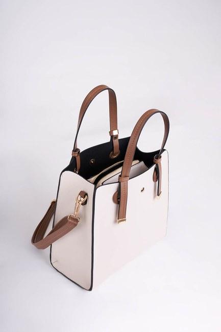 MIZALLE - Square Shape Front Pocket Shoulder Bag (Cream) (1)
