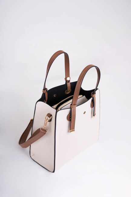 Mizalle - Square Shape Front Pocket Shoulder Bag (Cream) (1)