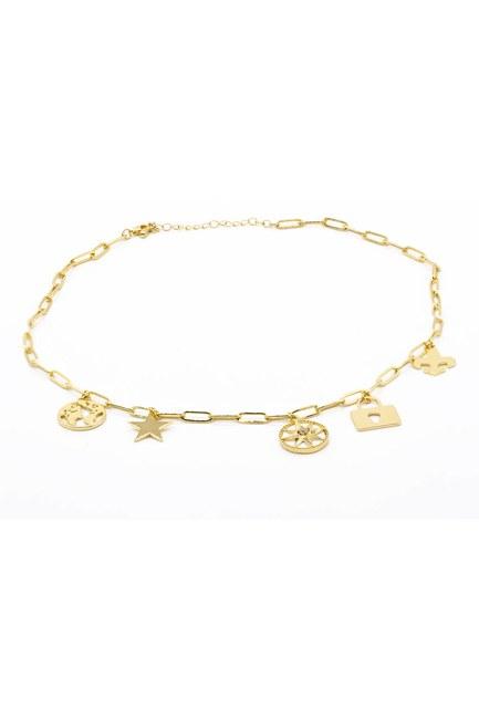 MIZALLE - Star Pendant Chain Necklace (Yellow) (1)