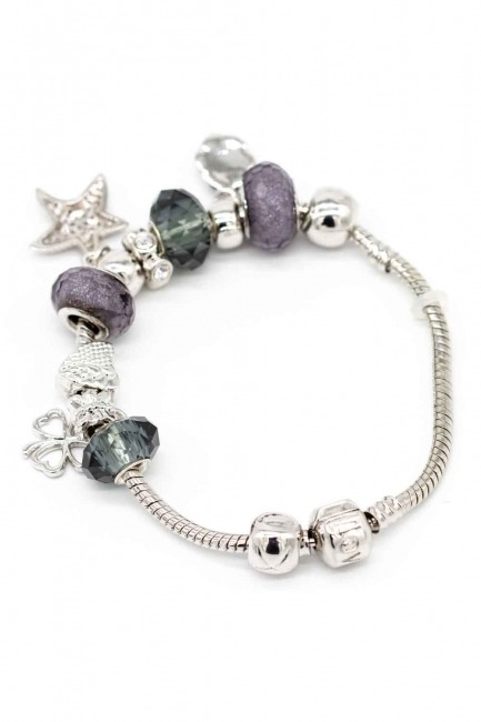 MIZALLE - Star Shaped Bracelet (Grey) (1)