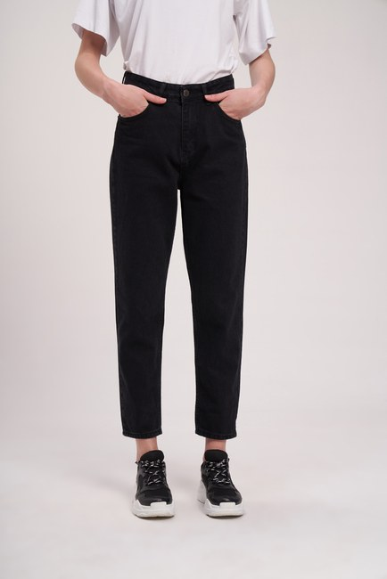 MIZALLE YOUTH - Stitched Mom Denim Trousers (Black) (1)