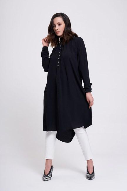MIZALLE - Stone Buttoned Tunic (Black) (1)